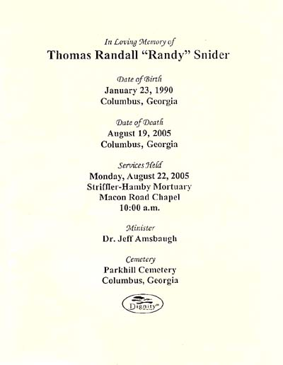 Randy Snider Services, August 22, 2005